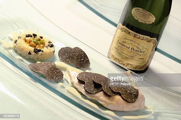 Champagne For New Year'S Eve Bouteille de champagne Laurent PERRIER 1993 s'accordant avec une poularde demideuil avec riz au foie gras et truffe...