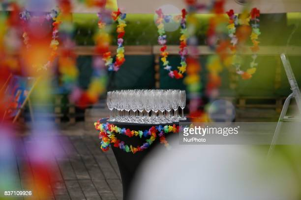 Champagne glasses are seen at a beach club in Bydgoszcz Poland on 20 August 2017 Mateusz Morawiecki presented figures from the statistical office...