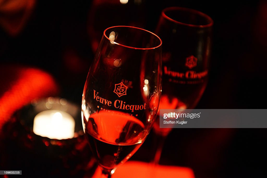 Champagne glasses are seen at the Burda Style Group Cocktail on January 17, 2013 in Berlin, Germany.