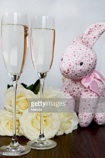 Champagne Glasses, Box of Chocolate, Bunch of White Roses : Stock Photo