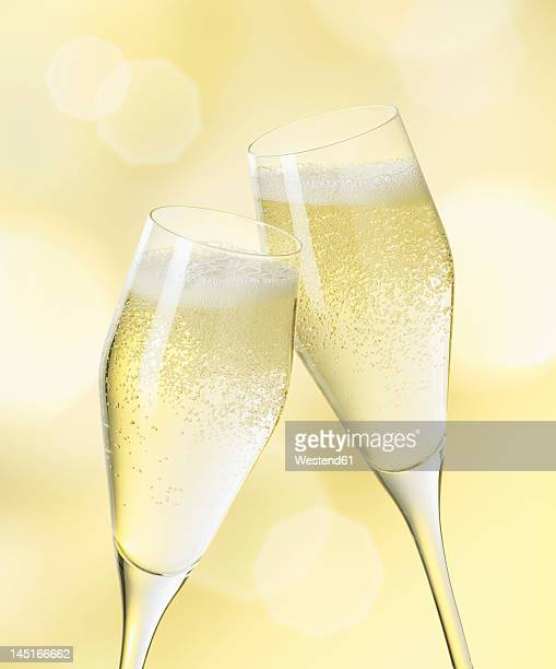 Champagne glasses, close up