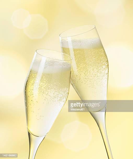 Champagne glasses, close up