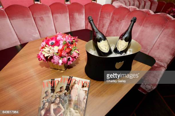 Champagne is served during Vanity Fair and L'Oreal Paris Toast to Young Hollywood hosted by Dakota Johnson and Krista Smith at Delilah on February 21...