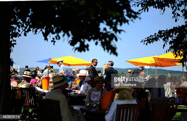 Champagne lawn at Goodwood racecourse on July 30 2014 in Chichester England