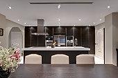 Champagne on ice in modern kitchen