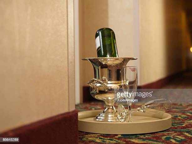 Champagne on room service tray