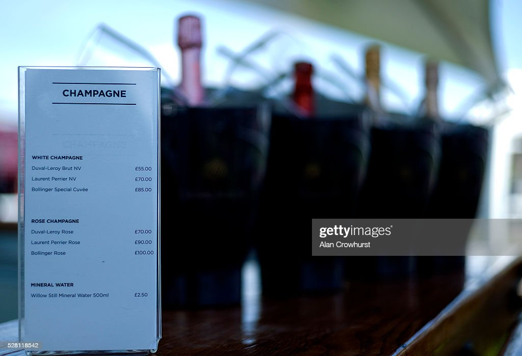 Champagne on sale at Chester racecourse on May 4, 2016 in Chester, England.