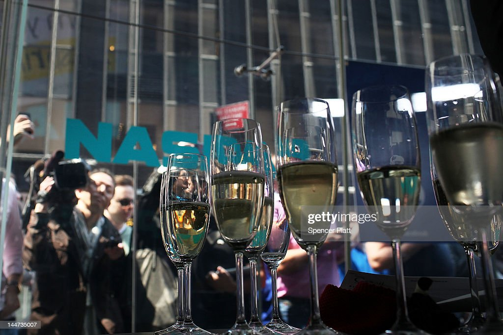 Champagne sits on a table to be passed out to executives moments before Facebook shares go public at the Nasdaq stock market on May 18, 2012 in New York, United States. The social network site began trading after 11:30 a.m. with shares jumping 13% to $43 before quickly falling. On Thursday Facebook priced 421 million shares at $38 each. Facebook, a Menlo Park, California based company, will have a valuation exceeding $100 billion.