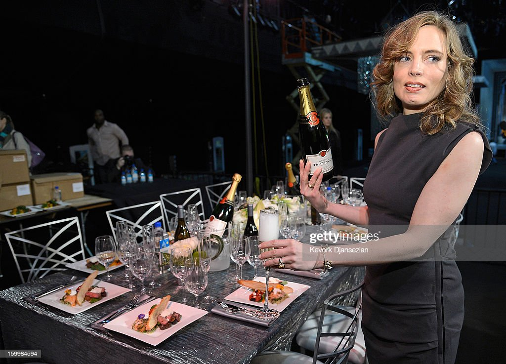 Champagne Taittinger artistic director and global ambassador Vitalie Taittinger pours a glass of champagne during the 19th Annual Screen Actor Guild Awards ceremony behind the scenes event at The Shrine Auditorium at The Shrine Auditorium on January 24, 2013 in Los Angeles, California.
