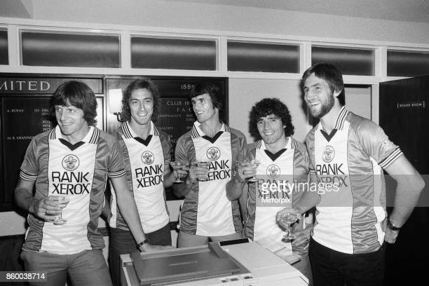 A champagne toast for Southampton FC players wearing their new Rank Xerox sponsored shirts on the eve of the match against Liverpool Left to right...