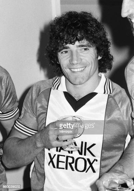 A champagne toast for Southampton FC players wearing their new Rank Xerox sponsored shirts on the eve of the match against Liverpool Kevin Keegan...