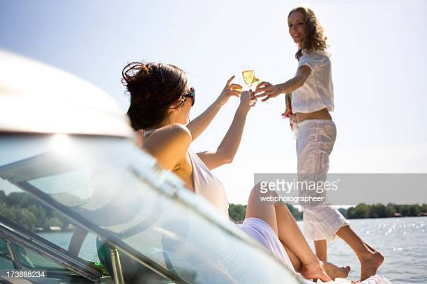 Champagne toast on boat