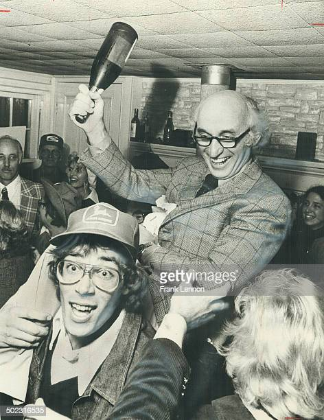 Champagne was the beverage at a victory party held by the antiairport group people or planes last night and Dr Charles Godfrey the leader playfully...