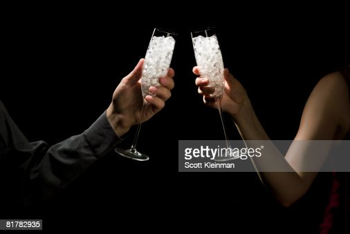champaign glasses filled with jewels : Stock Photo