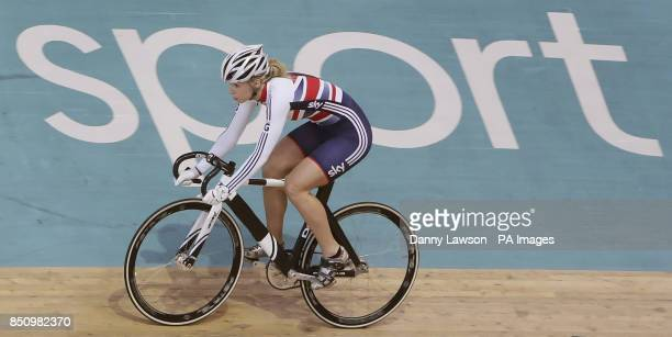 Champion cyclist Becky James is unveiled as an ambassador for the Junior World Track Championships during a photocall at the Sir Chris Hoy Velodrome...