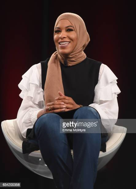 Champion Fencer Activist Ibtihaj Muhammad speaks onstage during The 2017 MAKERS Conference Day 2 at Terranea Resort on February 7 2017 in Rancho...