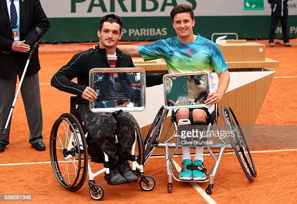 Champion Gustavo Fernandez of Argentina and runner up Gordon Reid of Great Britain pose with the trophies won during the Men's Wheelchair Singles...