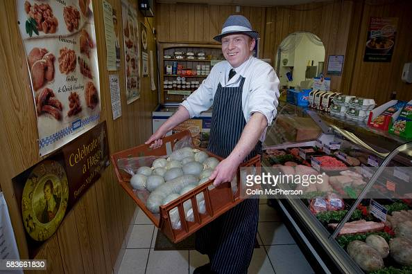 Champion haggis maker John Potter who relocated from his native Scotland to Merseyside with freshlymade haggis at Braveheart Butchers which he owns...
