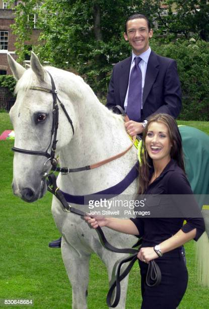 Champion jockey Frankie Dettori sits on legendary racehorse Desert Orchid with Sky Sports presenter Kirsty Gallacher holding the reins as they join...