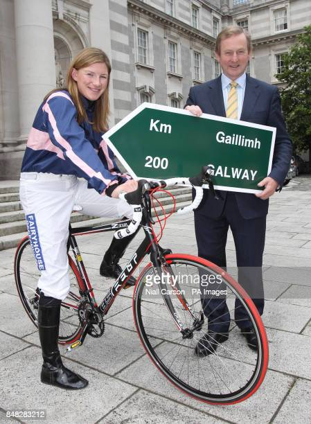 Champion jockey Nina Carberry with Taoiseach Enday Kenny at Government Buildings Dublin at the launch of the new Paddy Power Race to the Galway Races...