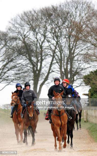 Champion Jockey Paul Hanagan on Crimson Cloud on the way back from the gallops during a media day at Musley Bank Stables Malton North Yorkshire