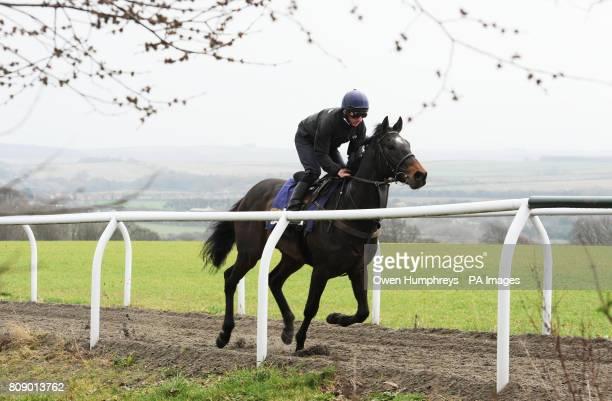 Champion Jockey Paul Hanagan on Irish Heartbeat on the the gallops during a media day at Musley Bank Stables Malton North Yorkshire