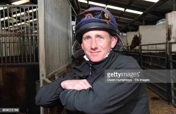 Champion Jockey Paul Hanagan poses during a media day at Musley Bank Stables Malton North Yorkshire