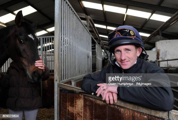 Champion jockey Paul Hanagan with Our Joe Mac who is listed to run in the William Hill Lincoln at Doncaster on Saturday during a media day at Musley...