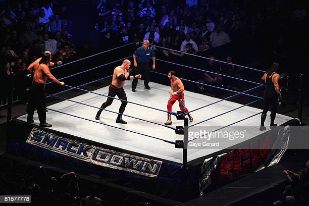 Champion Kane faces off against Chavo Guerrero during WWE Smackdown at Acer Arena on June 15 2008 in Sydney Australia
