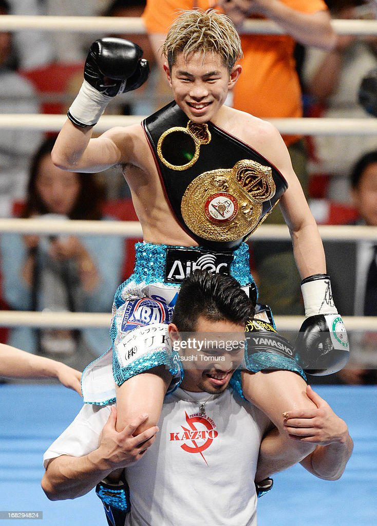 Champion Kazuto Ioka of Japan celebrates after defeating Wisanu Kokietgym of Thailand during their WBA Light Flyweight title bout at Bodymaker Colosseum on May 8, 2013 in Osaka, Japan.