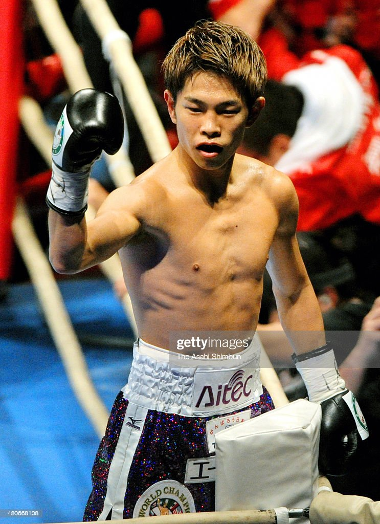 Champion <a gi-track='captionPersonalityLinkClicked' href=/galleries/search?phrase=Kazuto+Ioka&family=editorial&specificpeople=7488576 ng-click='$event.stopPropagation()'>Kazuto Ioka</a> of Japan celebrates his first round knockout win against challenger Yodngoen Tor Chalermchai of Thailand after their WBC Minimumweight Title Bout at Osaka Prefecture Gymnasium on December 31, 2011 in Osaka, Japan.