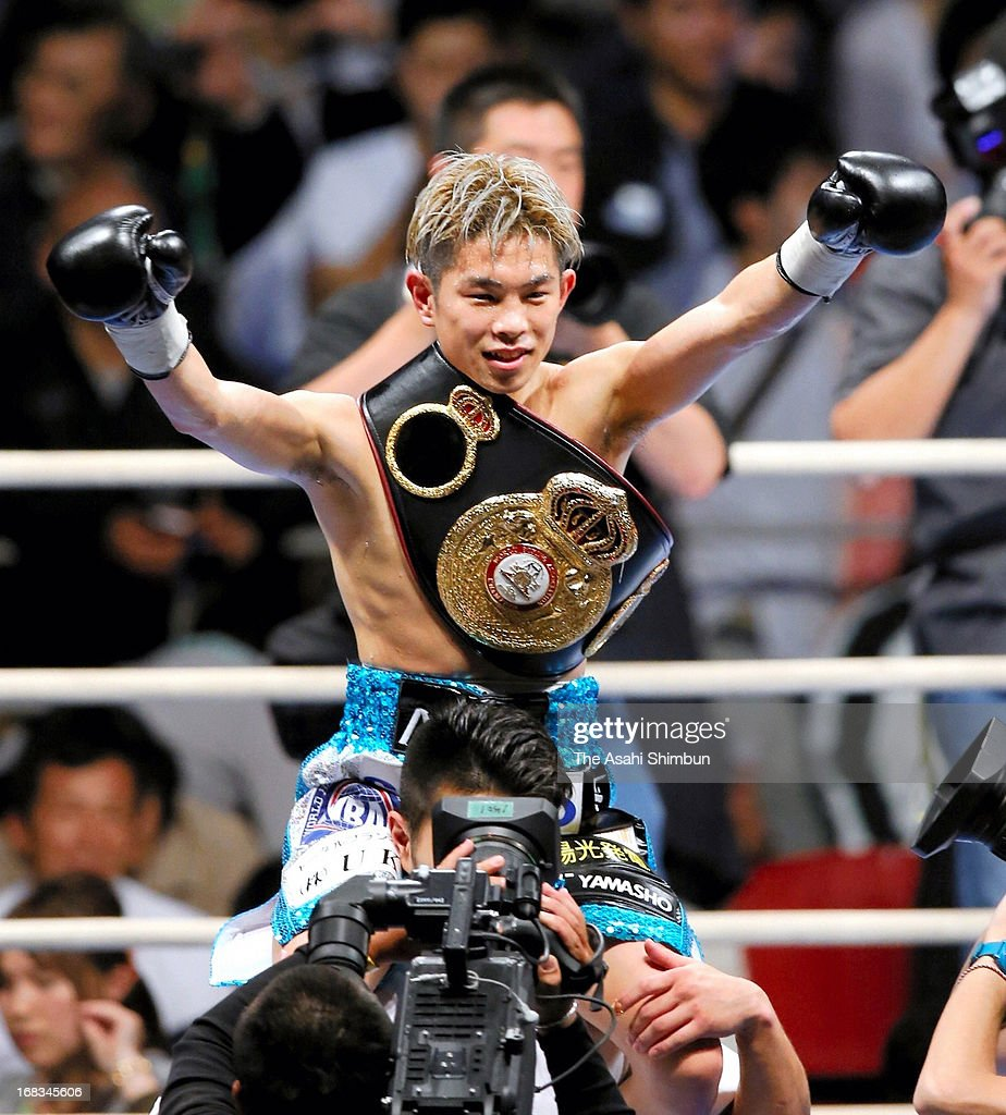 Champion Kazuto Ioka of Japan celebrates winning against Wisanu Kokietgym of Thailand after their WBA Light Flyweight title bout at Bodymaker Colosseum on May 8, 2013 in Osaka, Japan.