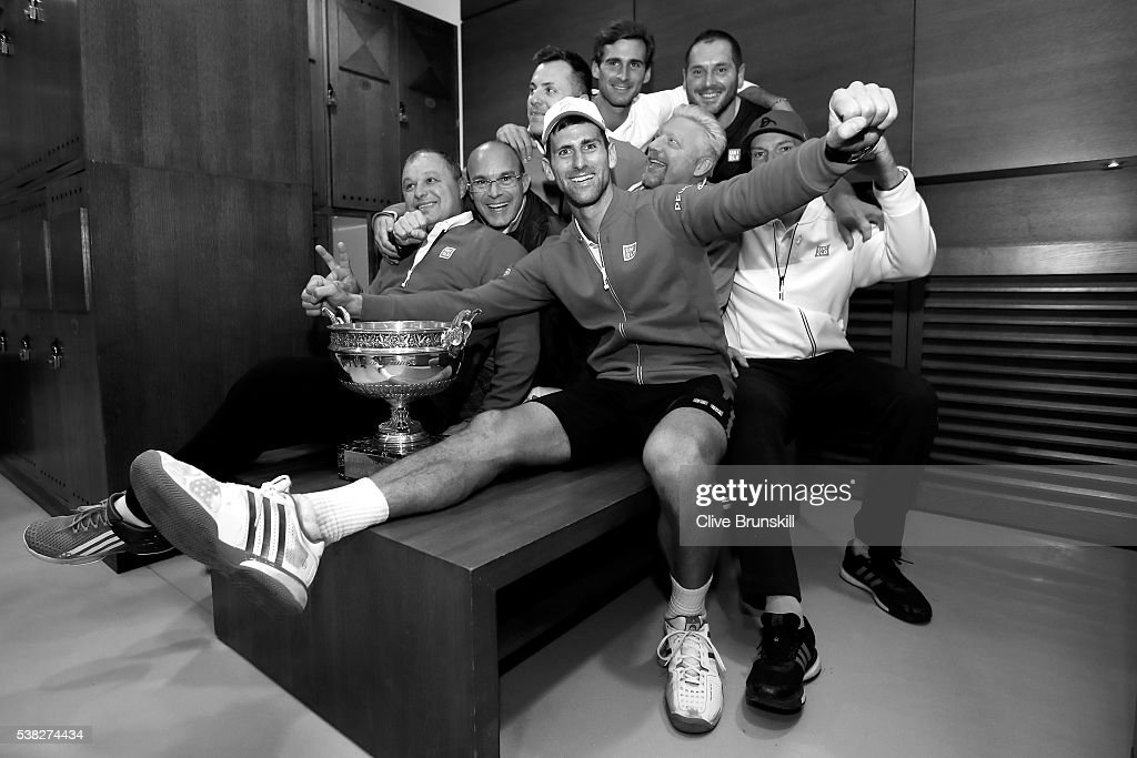 Champion Novak Djokovic of Serbia celebrates following his victory during the Men's Singles final match against Andy Murray of Great Britain on day fifteen of the 2016 French Open at Roland Garros on June 5, 2016 in Paris, France.