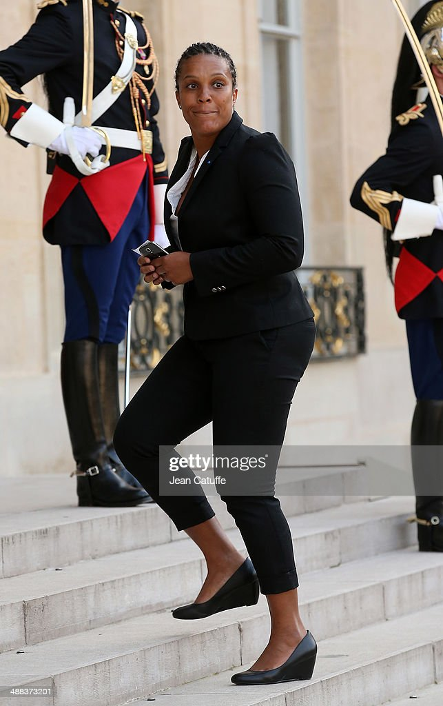 Champion of judo Lucie Decosse arrives at the State Dinner honoring Japanese Prime Minister at Elysee Palace on May 5, 2014 in Paris, France.