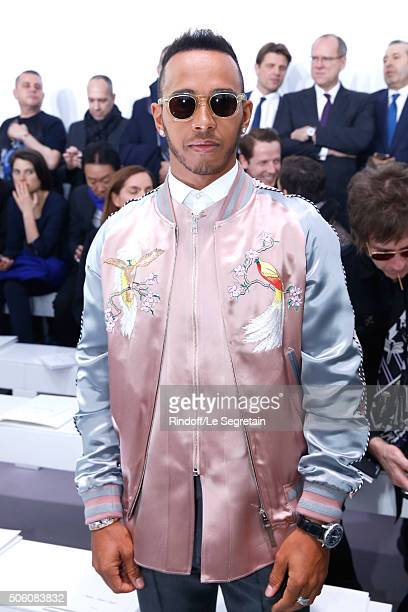 Champion of the World Driver Lewis Hamilton attends the Louis Vuitton Menswear Fall/Winter 20162017 Fashion Show as part of Paris Fashion Week Held...