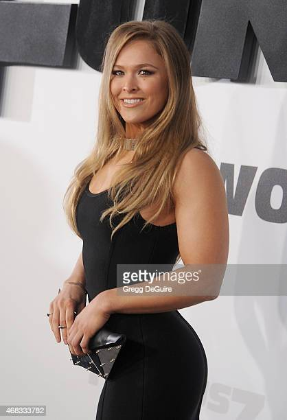 UFC champion Ronda Rousey arrives at the Los Angeles premiere of 'Furious 7' at TCL Chinese Theatre IMAX on April 1 2015 in Hollywood California