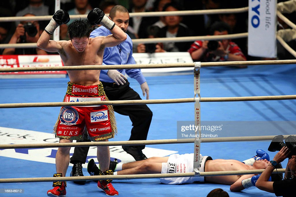 Champion Ryo Miyazaki of Japan knocks out Carlos Velarde of Mexico during their WBA Light Minimumweight title bout at Bodymaker Colosseum on May 8, 2013 in Osaka, Japan.
