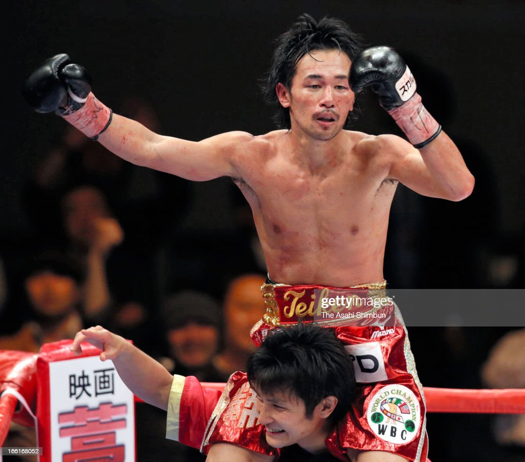 Champion Shinsuke Yamanaka of Japan celebrates after beating Malcolm Tunacao of the Phillipines at the World Boxing Commission (WBC) Bantamweight title bout at Ryogoku Kokugikan on April 8, 2013 in Tokyo, Japan.