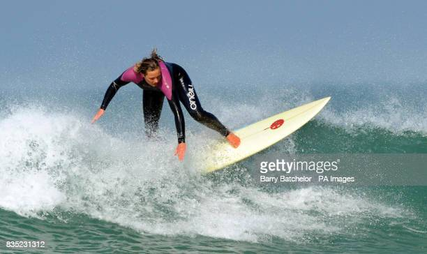 Champion surf boarder Tassy Swallow from St Ives tries out an environmentally friendly surfboard off Fistral Beach Newquay