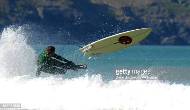 Champion surfboarder Mark 'Egor' Harris from Newquay tries out an environmentally friendly surfboard off Fistral Beach Newquay