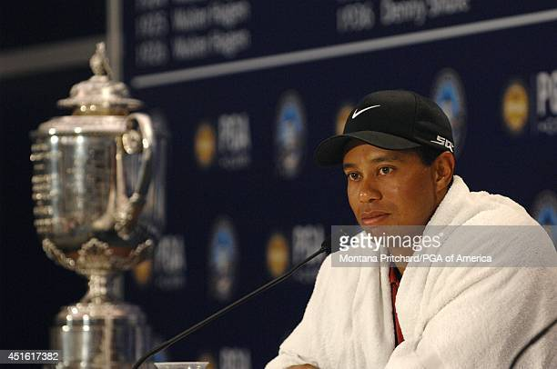 Champion Tiger Woods being interviewed after the Final Round of the 89th PGA Championship held at Southern Hills Country Club in Tulsa Oklahoma...