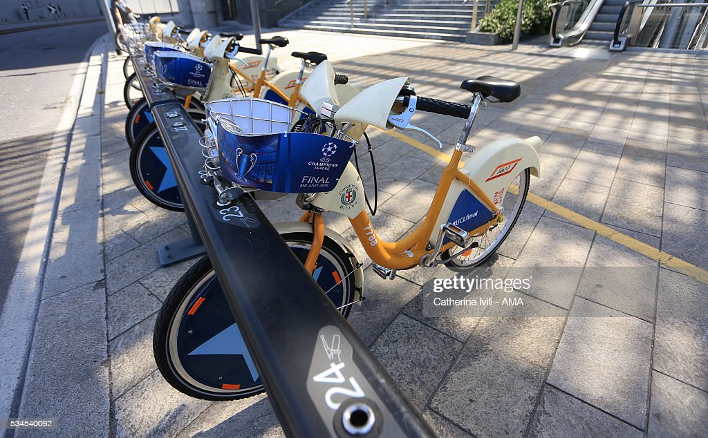 Champions League branded bicycles in Milan city centre ahead of the final at Stadio Giuseppe Meazza on May 26, 2016 in Milan, Italy.