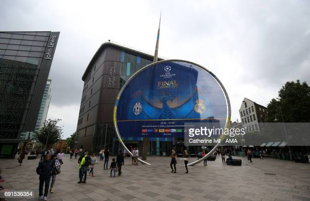 Champions League final signage in the cardiff city centre prior to the UEFA Champions League Final between Juventus and Real Madrid on June 02 2017...