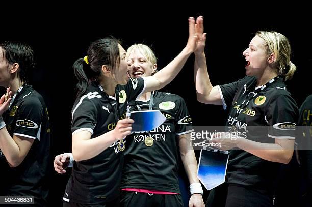 Champions League Final Viborg winning Champions League From left Chao Zhai Viborg HK Rikke Erhardsen Skov Viborg HK Keeper Louise Bager Due Viborg HK...
