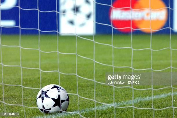 A Champions League matchball lying in the goalmouth