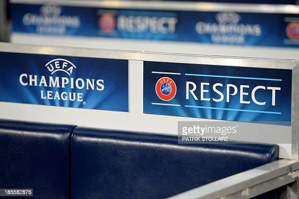 Champions League 'Respect No to Racism' campaign logo can be seen during the UEFA Champions League Group E football match Schalke 04 vs FC Chelsea in...