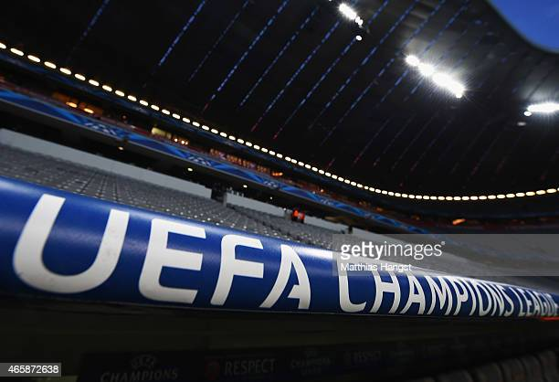 Champions League signage inside the stadium prior to the UEFA Champions League Round of 16 second leg match between FC Bayern Muenchen and FC...