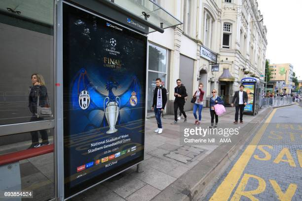 Champions League signage on a bus stop in cardiff ahead of the UEFA Champions League Final match between Juventus and Real Madrid at National Stadium...
