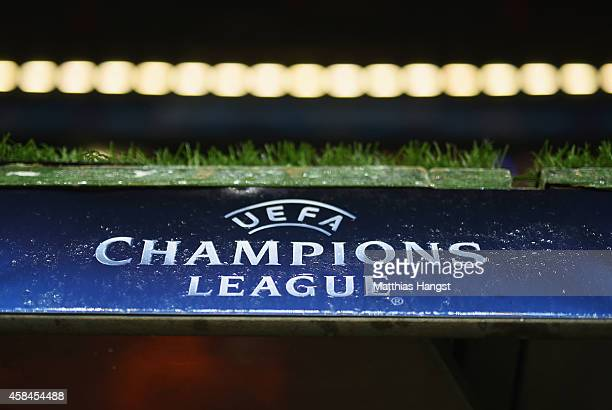 Champions League signage prior to the UEFA Champions League Group E match between FC Bayern Munchen and AS Roma at Allianz Arena on November 5 2014...