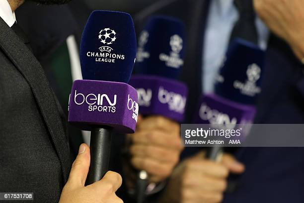 Champions League Television microphone for French TV broadcast network beIN Sports during the UEFA Champions League match between FC Barcelona and...